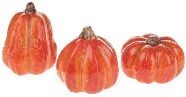 Kürbisse Keramikkürbisse Deko Keramik Figuren Herbstdeko Halloween 3er Set 4-7 cm