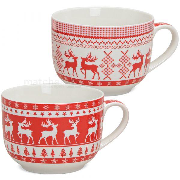 Jumbo XXL Tassen Becher Weihnachtstassen rot weiß Elch Porzellan 2er Set 500 ml
