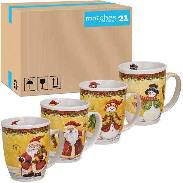 Tassen Becher Weihnachtstassen Keramik liebevolle Weihnachtsmotive 36 Stk. Karton