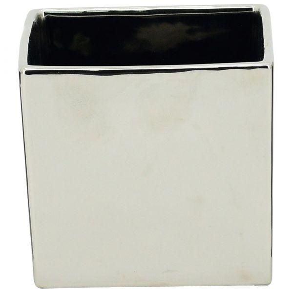Moderner Übertopf Pflanztopf silber glänzend quadratisch 1 Stk 12,5x12,5x12 cm