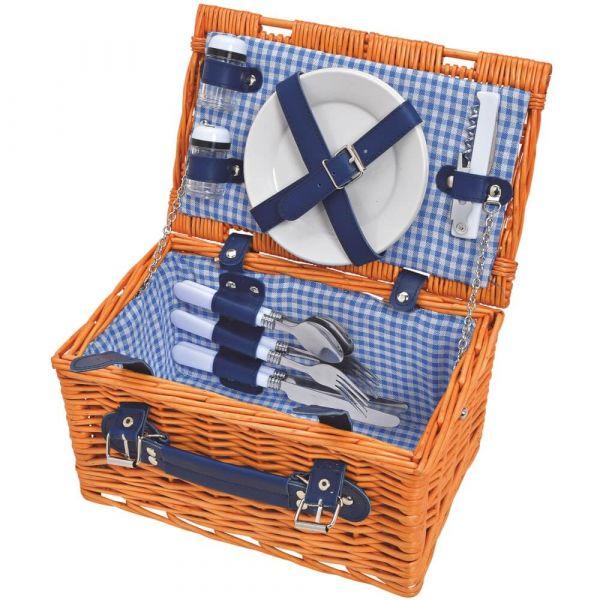 Picknickkorb 2 Personen Weidenkorb braun / blau 12-tlg inkl Mehrweg Geschirr
