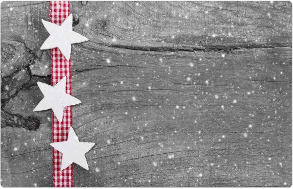 Tischset Platzset Weihnachten Sterne weiß & Holzoptik 1 Stk. abwaschbar 43,5 cm