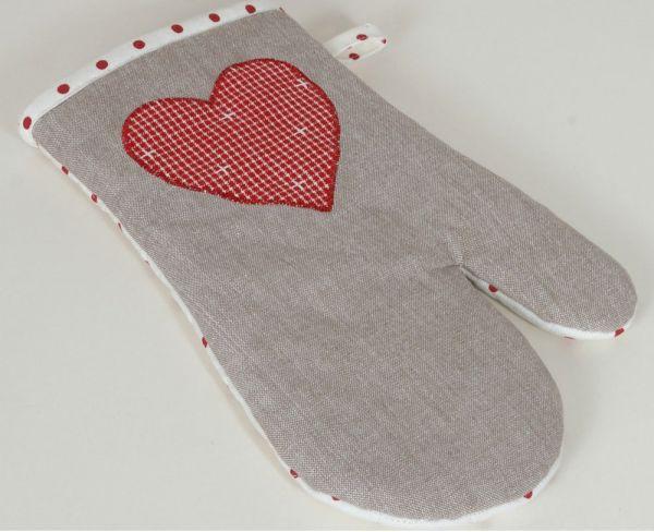 Topfhandschuh Landhaus Premium ROSI grau Herz rot Ofenhandschuh