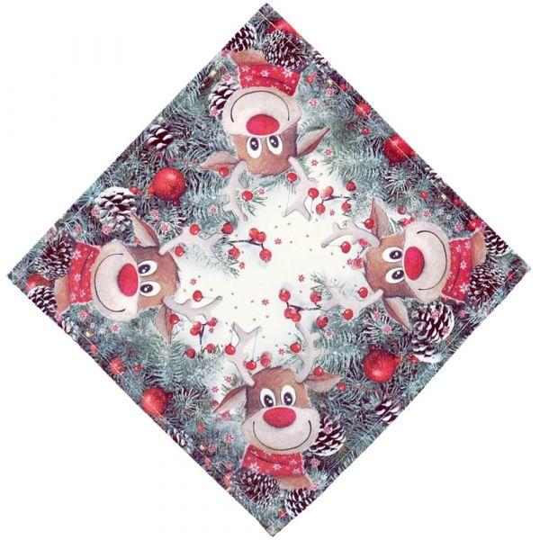 Mitteldecke Tischwäsche Weihnachten witziger Elch weiß & Druck bunt 30x30 cm