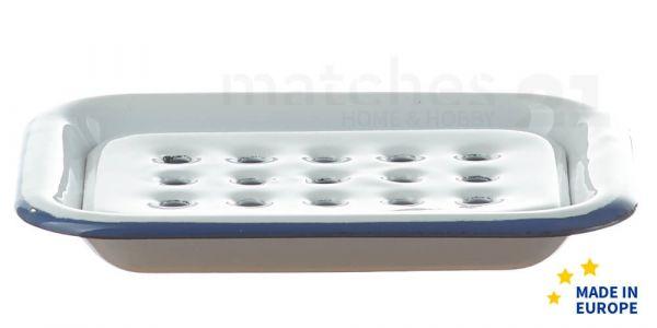 Email Seifenunterlage / Retro Emaille Seifenschale weiß 13x10x2 cm