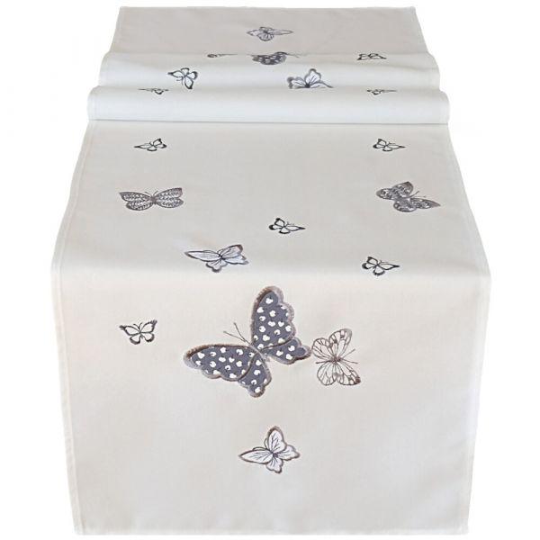 Tischläufer Tischwäsche Mitteldecke weiß & Stick Schmetterling grau 40x140 cm