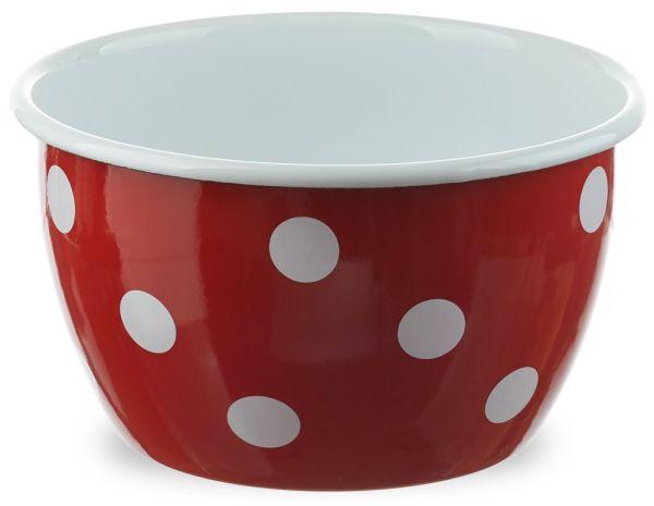 Email tiefe Schüssel Salatschüssel rot & Punkte weiß Retro Emaille Ø 14x9 cm