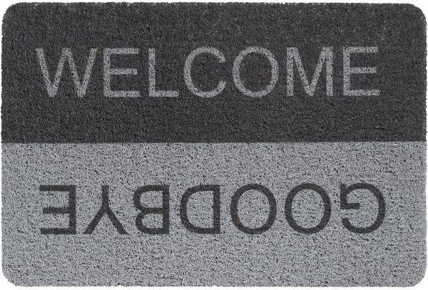 Fußmatte Türmatte Türvorleger Vinyl Outdoor grau Welcome & Goodbye - 40x60 cm
