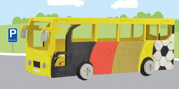 Bus Omnibus 3D Laubsägevorlage Kinder Holz Laubsäge Vorlage zum Aussägen