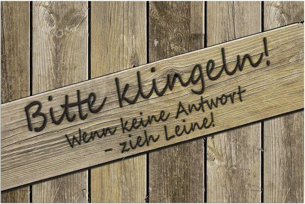 Fußmatte Fußabstreifer DECOR Holzoptik Holz & Bitte klingeln waschbar 40x60 cm