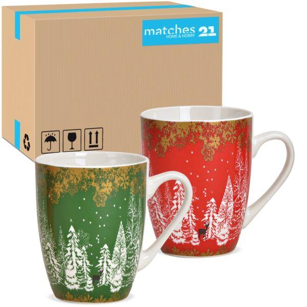 Tassen Kaffeebecher Tannenbäume Wald rot grün Porzellan 48 Stk sort 340 ml 10 cm