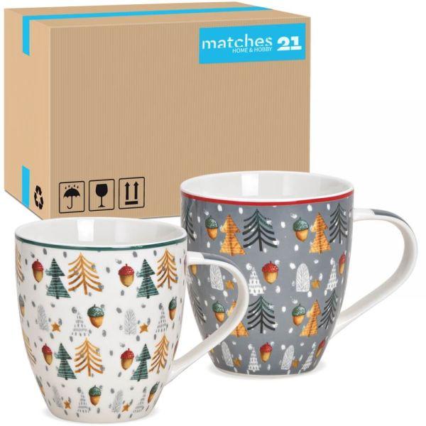 Jumbo Tassen Weihnachtstassen Bäume & Eicheln weiß & grau Porzellan 24 Stk 10 cm