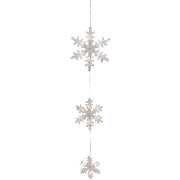 Schneeflocken Hängedeko / LED Dekohänger warmweiß mit Schalter & Timer