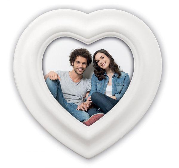 Bilderrahmen mit Schleife / Band Hängerahmen Herzform Rahmen Holz weiß Ø 21 cm