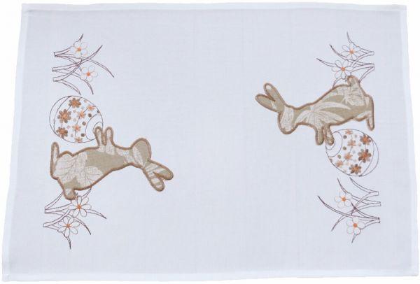 Tischläufer Tischwäsche Osterhasen beige / braun gestickt 35x50 cm