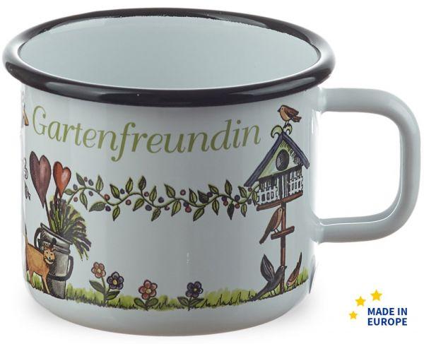 Email Becher Trinkbecher mit Motiv Gartenfreundin Emaille Geschirr 9x8 cm 400 ml