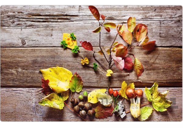 Tischset Platzset Herbst MOTIV buntes Herbstlaub auf Holzbrett 1 Stk abwaschbar