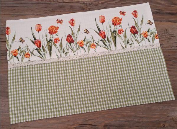Tischset Platzset Landhaus BERTA weiß grün & Tulpen Borte bunt 33x48 cm 1 Stk