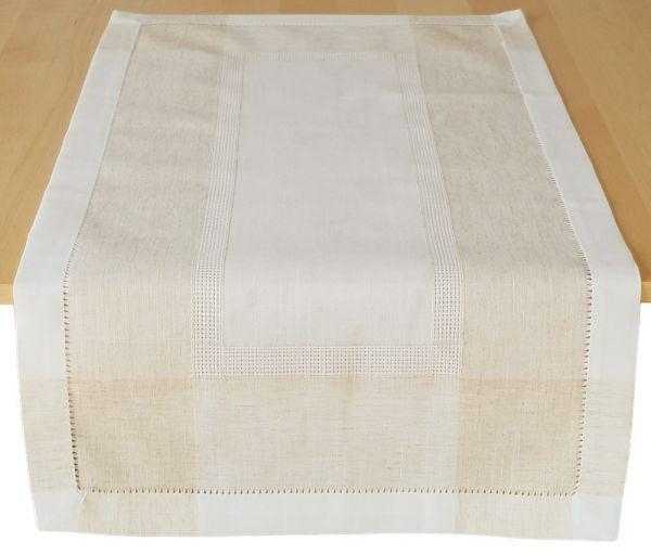 Tischläufer Mitteldecke Leinenoptik & Hohlsaum Tischwäsche wollweiß ecru 50x100 cm