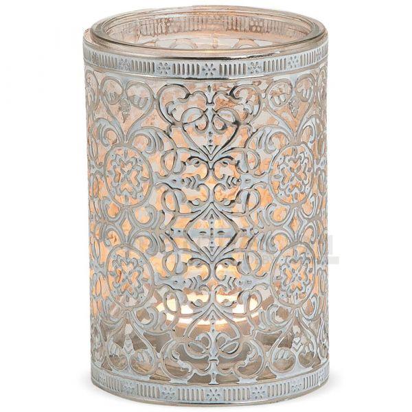 Windlicht Teelichtglas Orientalisches Muster Metall silber antik – 3 Größen