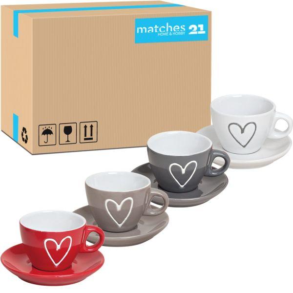 Espressotassen mit Unterteller Herzdekor 72 Stk. Karton Keramik je 5 cm 50 ml