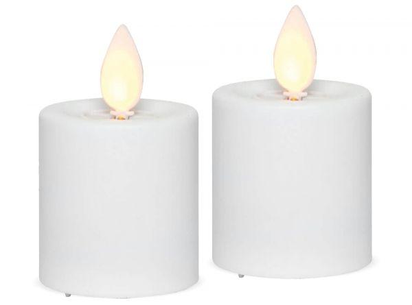 LED Stumpenkerzen Kerzen Kunststoff 2er Set Flackereffekt bewegliche Flammen 6 cm