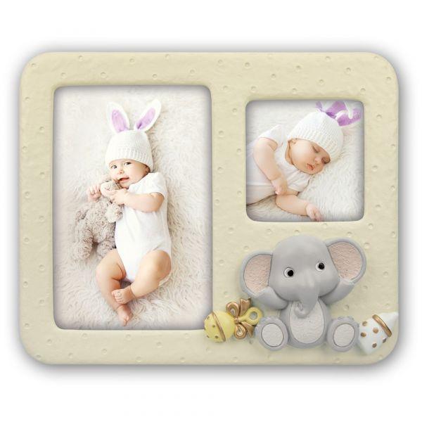 Bilderrahmen für 2 Fotos Baby Kind Rahmen Kunststoff creme & Elefanten Applikation