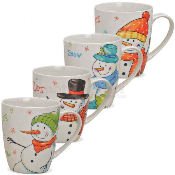 Tasse Weihnachtstasse Porzellan Schneemänner Let it snow 1 Stk **B-Ware**