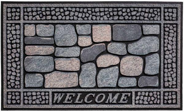 Fußmatte Gummimatte wetterfest OUTDOOR DECOR Welcome grau blaue Steine 45x75 cm