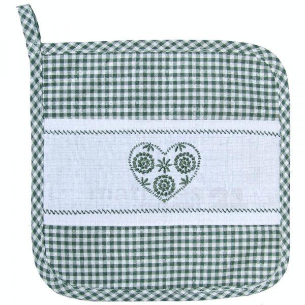 Topflappen Landhaus Karo grün weiß& Herz Untersetzer Tischwäsche 20x20 cm 1 Stk