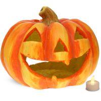 Halloween Kürbis Windlicht Laterne 27x23 cm Halloweendeko inkl. LED Teelicht