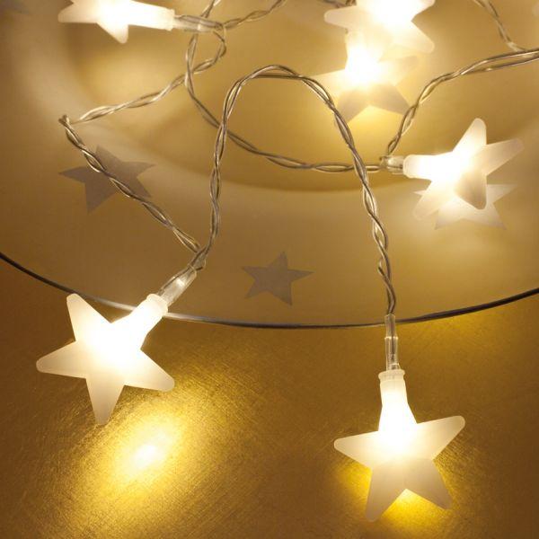 LED Mini Lichterkette warmweiße Sterne 10-flammig / batteriebetrieben