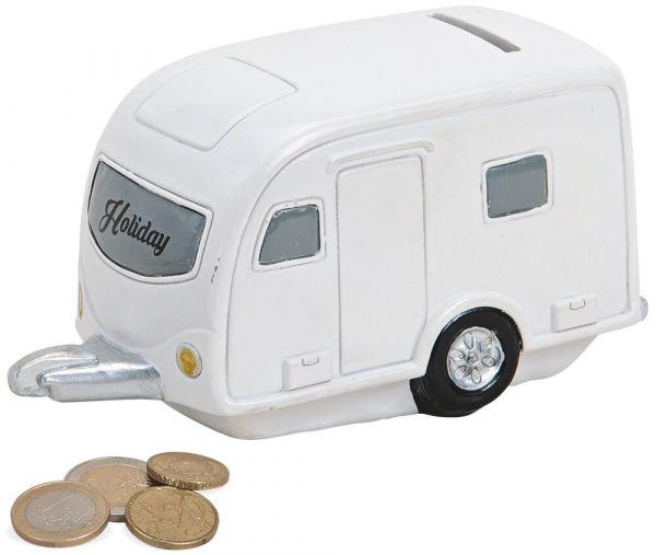 Spardose Wohnwagen Camping Anhänger Sparbüchse weiß Poly 1 Stk 16x8 cm