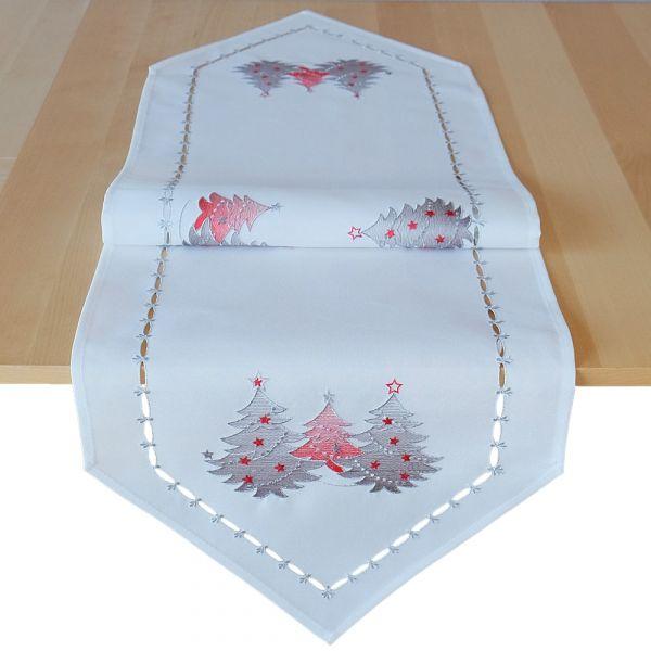 Tischläufer Mitteldecke Weihnachten Stick Tannenbäume rot silber 40x140 cm weiß