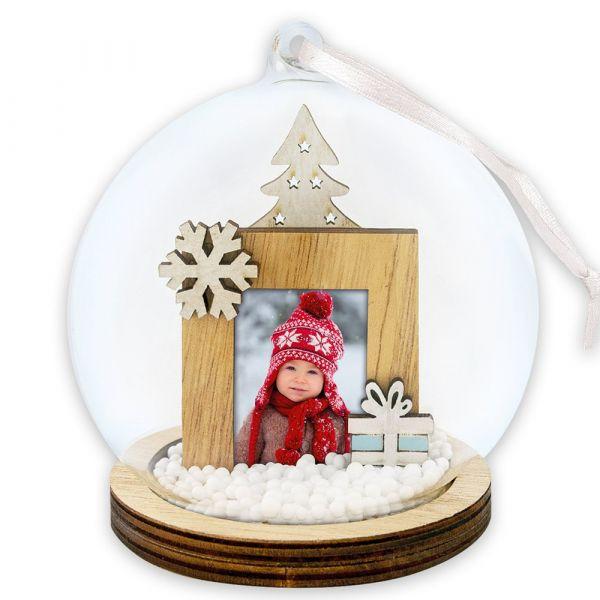 Foto Hänge-Fotokugel Bilderrahmen Weihnachten GESCHENK & SCHNEEFLOCKE Ø 9x12 cm