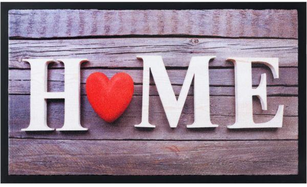 Fußmatte Fußabstreifer Decor & Rand Home mit Herz auf Holz waschbar 45x75 cm
