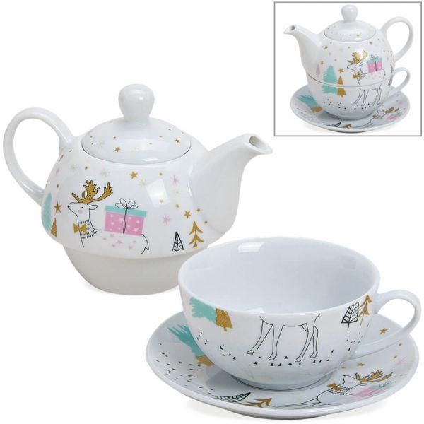 Tea For One Geschenk Set Porzellan Hirsch & Geschenk - Teekanne Tasse & Teller