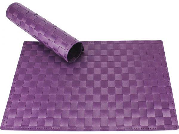 Tischset Platzset MODERN violett lila geflochten Kunststoff 1 Stk. 45x30 cm