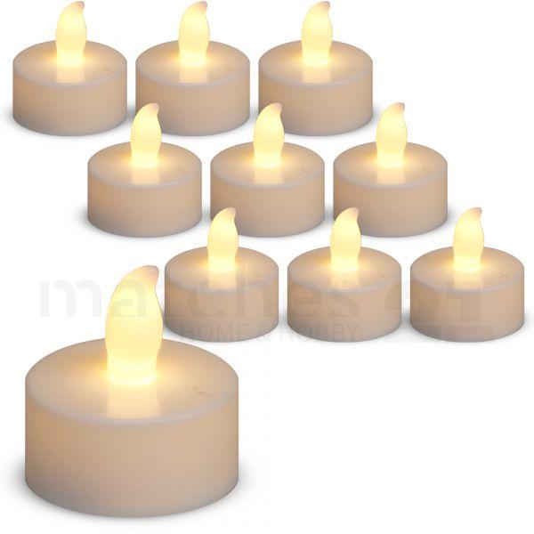 LED Teelichter 10 Stk. warmweiße Teelichtkerzen mit Flackereffekt / flackernd