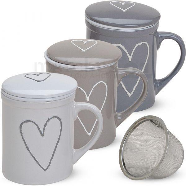 Teetasse Teebecher weiß beige grau Deckel & Sieb Porzellan 10 cm 1 Stk. B-WARE