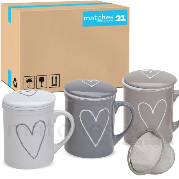 Teetasse Teebecher 36 Stk. Karton weiß beige grau Deckel & Sieb Porzellan