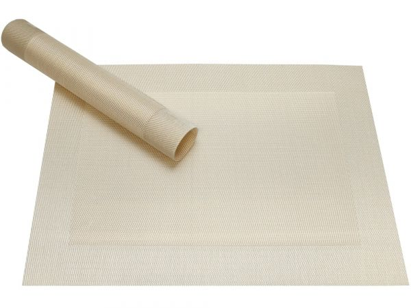 Tischset Platzset BORDA perlmutt weiß 1 Stk. Kunststoff gewebt abwaschbar