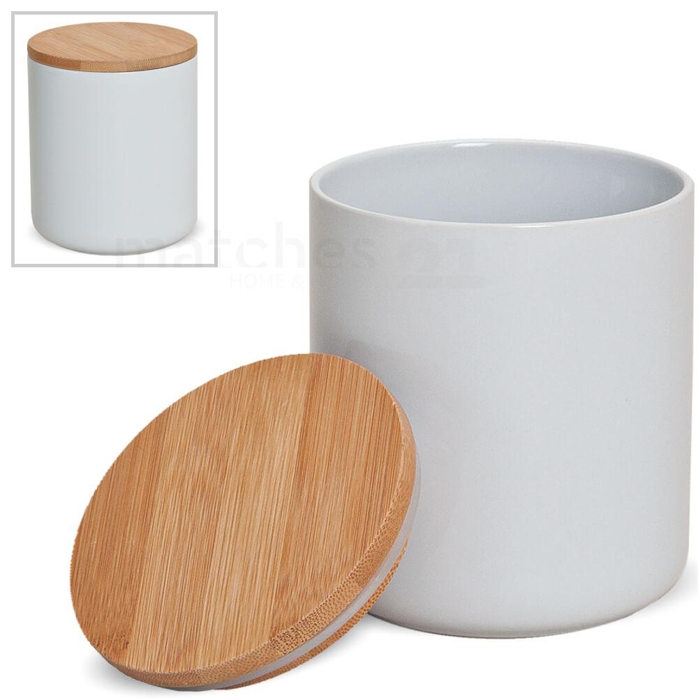 Keramik Vorratsdose mit Holzdeckel vielseitig verwendbar 12x10 cm ca. 550 ml