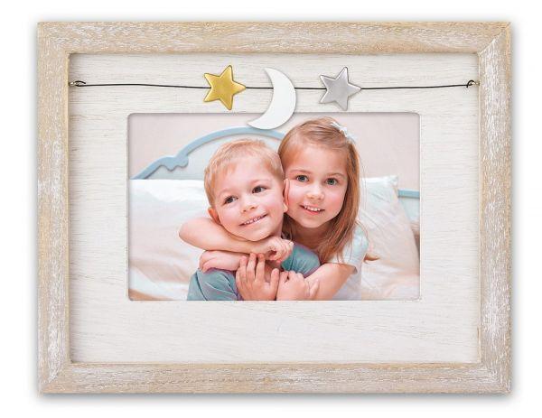 Bilderrahmen Baby Kind Quer Holz Vintage natur weiß gekalkt Schnur Sterne & Mond