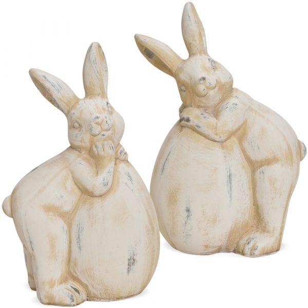 Osterhasen Paar mit Eier Deko Figuren Ton weiß Antikoptik Tonfiguren Deko 2 Größen
