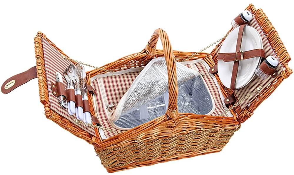 Picknickkorb 2 Personen Weidenkorb beige 15-tlg inkl Geschirr /& Kühltasche