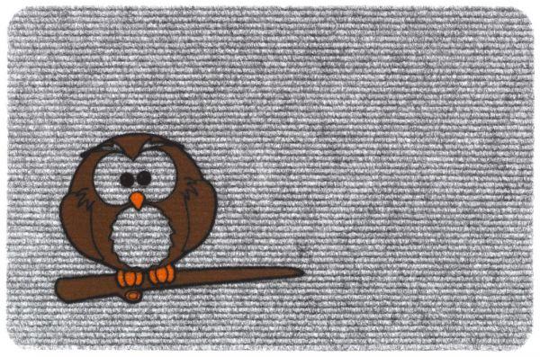 Fußmatte RIPS Nadelfilz Motiv braune Eule auf Ast Indoor 1 Stk - 40x60 cm grau