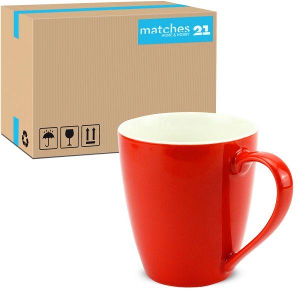 Tasse Kaffeebecher Unifarben einfarbig rot Porzellan 48 Stk. Karton 350 ml