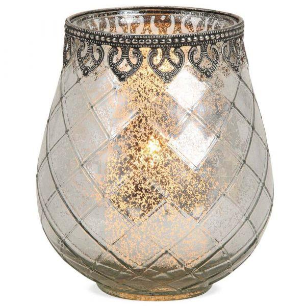 Teelichtglas orientalisch Windlicht silber antik Glas & Metall – in 3 Größen