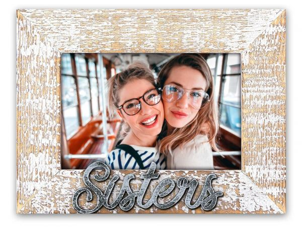 Bilderrahmen Wechselrahmen Rahmen Holz weiß gekalkt Shabby Aufschrift Sisters